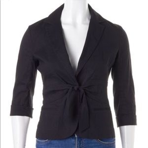 THEORY Galina Crunch Cropped Linen Blazer Black 00